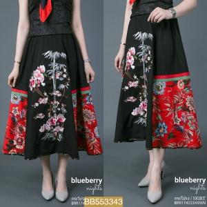 BB3343*สีดำ*เอว 28-34' กระโปรงพรีเมี่ยมลินินคอตต้อนเบลนด์ ลายดอกไม้ No.1
