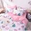 ผ้าปูที่นอน ลายนกฟลามิงโก้ แตงโม สีชมพู-ขาว thumbnail 2