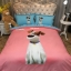 ผ้าปูที่นอนลายหมา 3D สีชมพู-ฟ้า thumbnail 2