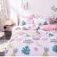 ผ้าปูที่นอน ลายนกฟลามิงโก้ แตงโม สีชมพู-ขาว thumbnail 1