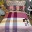 ผ้าปูที่นอนลายการ์ตูนคู่รัก ลายตาราง สีม่วง-ชมพู thumbnail 1