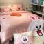 ผ้าปูที่นอน ลายกระต่ายโคนี่ หมีบราวน์ เนื้อผ้าคอตตอนซาติน thumbnail 1