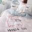 ผ้าปูที่นอน ลายแมวเหมียว พาสเทล ชมพู-เทา thumbnail 3