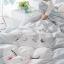 ผ้าปูที่นอน ลายสวยสวย ฟ้า-เทา สีพาสเทล thumbnail 3