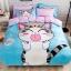 ผ้าปูที่นอน ลายแมวจี้ สีฟ้า-ชมพู thumbnail 1