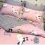 ผ้าปูที่นอน ลายการ์ตูนแมว หัวใจ สีชมพู-เทา thumbnail 2