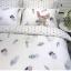 ผ้าปูที่นอน ลายขนนก ลายจุดสีเทา-ขาว thumbnail 3