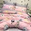 ผ้าปูที่นอน ลายการ์ตูนแมว หัวใจ สีชมพู-เทา thumbnail 4