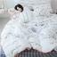 ผ้าปูที่นอนลายตัวหนังสือ ลายสก๊อต สีขาว-ดำ thumbnail 3