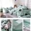 ผ้าปูที่นอนลายหัวใจ พื้นสีเขียว-เทา thumbnail 2