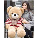 ตุ๊กตาหมีอ้วนสีเบท-เสื้อสีแดงน่ารักๆ ผูกโบว์ ขนาด 1 เมตร