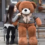 ตุ๊กตาหมีอ้วนสีน้ำตาล-เสื้อสีดำน่ารักๆ ผูกโบว์ ขนาด 1 เมตร