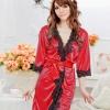 เสื้อคลุม/ชุดนอนผ้าซาติน สีแดง ประดับลูกไม้ดำ