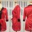 เสื้อคลุม/ชุดนอนผ้าซาติน สีแดง ประดับลูกไม้ดำ thumbnail 2