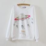 เสื้อแฟชั่นเกาหลี เสื้อกันหนาว สกรีนลายการ์ตูน 2015 สีขาว