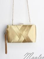 พร้อมส่ง Evening Clutch กระเป๋าออกงาน สีทอง แบบหรู ตัวกระเป๋าเป็นแบบสาน จับถนัดมือ (พร้อมสายโซ่)