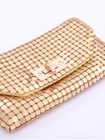 พร้อมส่ง Evening Clutch กระเป๋าออกงาน สีทอง ด้านในมีซิป 2ที่ เปิด-ปิดง่าย พร้อมสายโซ่สะพายยาว