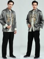 Pre-order ชุดจีน ชาย เสื้อคอจีน ผ้าไหมจีน สีเทา ปักลายมังกร