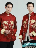พร้อมเช่า ชุดจีน ชาย เสื้อคอจีน ผ้าไหมจีน สีแดง ปักลายมังกร **เหลือเฉพาะ L , XL **