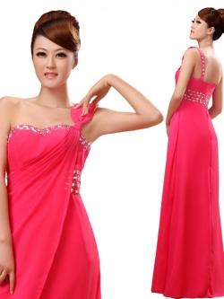 พร้อมส่ง ชุดราตรียาว ไหล่เดียว แบบสวย สีชมพู ช่วยพรางหน้าท้อง ปักเลื่อมช่วงรอบคอเสื้อและเอว