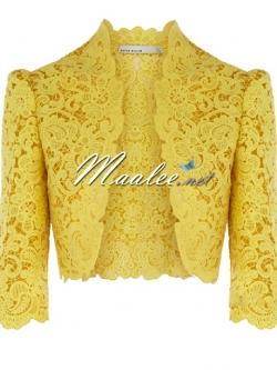 พร้อมส่ง เสื้อคลุมลูกไม้ Keren Millen สีเหลืองทอง แขนสามส่วน (เหลือเฉพาะ XL)