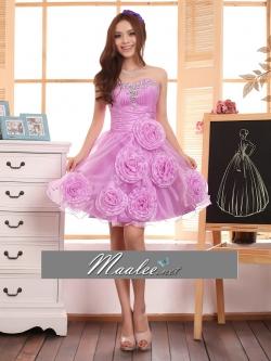 Pre-order / เช่า ชุดแฟนซี ชุดราตรีสั้น สีม่วง Lavender แต่งเลื่อมช่วงอก กระโปรงผ้าโปรงบาง แทรกดอกไม้