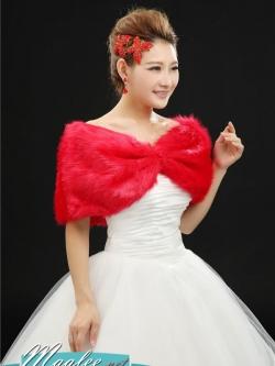 ผ้าคลุม ขนสัตว์ แต่งมุก 3 เม็ด สีแดง
