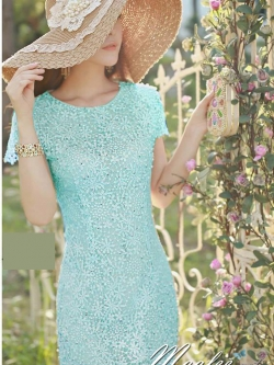 Pre-order ชุดเดรสลูกไม้ (สั้น) สีฟ้า ลูกไม้ลายดอก Daisy ปักมุกเพิ่มความหวาน