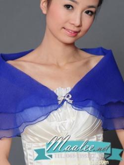 เสื้อคลุมชุดราตรี ผ้าแก้วออกันซ่า สีน้ำเงิน พร้อมตะขอเพชรรูปโบว์