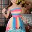 พร้อมเช่า ชุดแฟนซีสั้น แบบเกาะอก สีรุ้ง Rainbow เนื้อผ้าตาข่ายสวยน่ารัก (ซิปหลัง) thumbnail 4