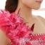 พร้อมเช่า ชุดแฟนซี ชุดราตรียาว ไหล่เฉียง สีชมพู กระโปรงระบายย้วย แต่งดอกไม้ thumbnail 7