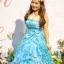 พร้อมเช่า ชุดแฟนซี ชุดราตรียาว สีฟ้า ผ้าแก้วพิมพ์ลายสวย กระโปรงแต่งระบาย thumbnail 4