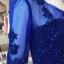 พร้อมส่ง ชุดราตรียาว สีน้ำเงิน แขนยาว แบบเรียบหรู แต่งลูกไม้เซาะดอก ปักลูกปัดมุก thumbnail 8