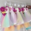 พร้อมเช่า ชุดแฟนซีสั้น แบบเกาะอก แต่งดอกไม้หลากสี กระโปรงสายรุ้ง ชายด้านหลังยาว (ซิปหลัง) thumbnail 11