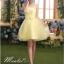 Pre-order ชุดราตรีสั้น ชุดเพื่อนเจ้าสาว หน้าสั้นหลังยาว สีเหลือง Yellow-001 thumbnail 3