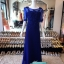 พร้อมส่ง ชุดราตรียาว สีน้ำเงิน แขนยาว แบบเรียบหรู แต่งลูกไม้เซาะดอก ปักลูกปัดมุก thumbnail 3
