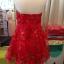 พร้อมส่ง ชุดราตรีสั้น เกาะอก แบบสวยหวาน สีแดง ผ้าลูกไม้ยกดอก 3 มิติ thumbnail 13