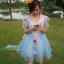 พร้อมเช่า ชุดแฟนซีสั้น สีฟ้า แขนยาว แต่งดอก Fairy สไตล์เจ้าหญิง กระโปรงพองสวยชายย้วย เชือกผูกหลัง thumbnail 21