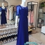 พร้อมส่ง ชุดราตรียาว สีน้ำเงิน แขนยาว แบบเรียบหรู แต่งลูกไม้เซาะดอก ปักลูกปัดมุก thumbnail 6