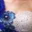 พร้อมเช่า ชุดแฟนซี ชุดราตรียาว สีน้ำเงิน เกาะอกไหล่เดียว แต่งดอกไม้ช่วงบน กระโปรงพองสวย thumbnail 7