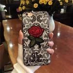 เคส tpu ลายลูกไม้ปักดอกกุหลาบ ซัมซุง J7 Prime(ใช้ภาพรุ่นอื่นแทน)ดำ
