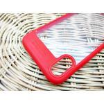 Iphone X เคสหลังแข็งบางขอบสีทึบ-แดง