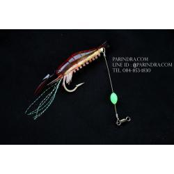 เหยื่อปลอมตกปลา กุ้งยาง นุ่มนิ่ม สีแดงใส เรืองแสง ตกปลาทะเล #004