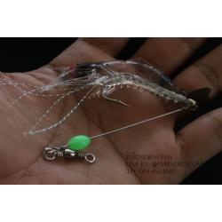 เหยื่อปลอมตกปลา กุ้งยาง นุ่มนิ่ม สีใสใส เรืองแสง ตกปลาทะเล #001