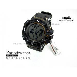 นาฬิกา US submarine TP1338M สีดำ-ทอง พื้นหลังเทา กรอบเข็มทิศระบบDigital