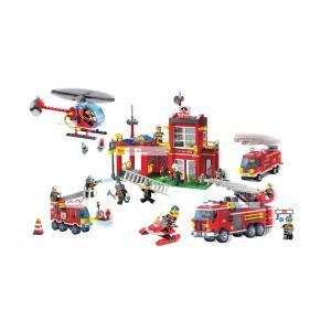 ดับเพลิง (Fire fight) E-set 5. ตัวต่อเลโก้จีน สถานีดับเพลิง (ชุด 3 กล่อง)