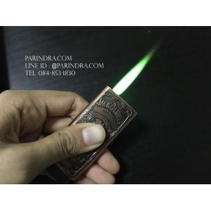 ไฟแช็ค JackDaniel's ไฟฟู่แรงกันลมสีเขียว บอดีสีทองแดง