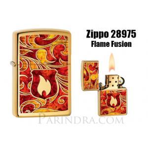 """ไฟแช็ค Zippo แท้ โล่เพลิงสีทองอร่าม """" Zippo 28975 Flame Fusion, High Polish Brass """" แท้นำเข้า 100%"""
