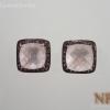 ต่างหูเงินโรสครอส(Silver earring rose quartz)