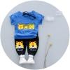 ชุดเซตเสื้อสีน้ำเงินลายสัตว์+กางเกงสีดำ แพ็ค 4 ชุด [size 6m-1y-2y-3y]